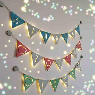 Imię na ścianę, kolorowa girlanda LED
